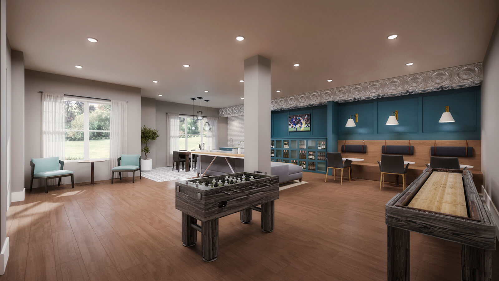 Our well-appointed clubroom with games, comfortable seating, fireplace and catering kitchen.