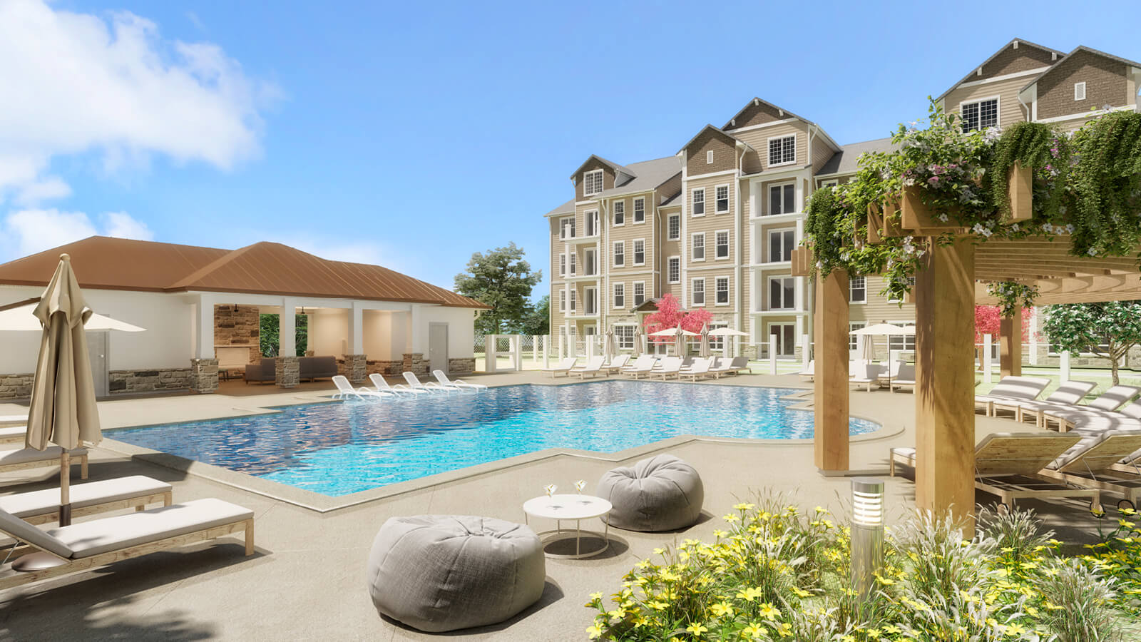 Enjoy our resort-style pool with comfortable lounge seating and pergola.